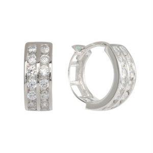 Jewelry - 9MM OR 11MM 925 SILVER 2 ROW CZ HUGGIES EARRINGS